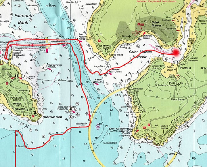 Chart showing Windfall's approach and entrance to Falmouth Harbour and her subsequent journey across the Carrick Roads and up the Percuil River to the Roseland Maid's mooring opposite the tiny boatyard at Portcuil.